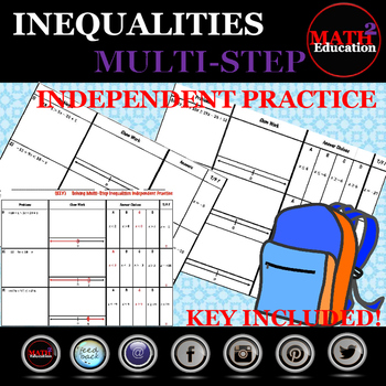 Solving and Graphing Multi-Step Inequalities Independent Practice