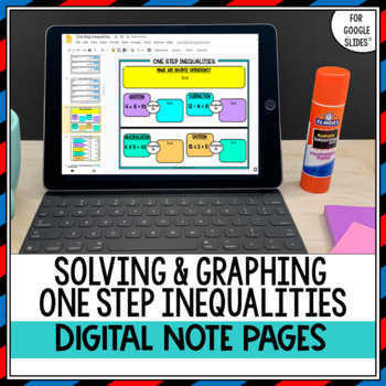 Solving and Graphing One Step Inequalities Digital Interactive Notebook Pages