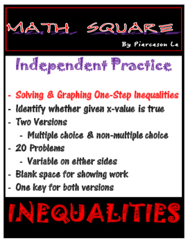 Solving and Graphing One Step Inequalities Independent Practice