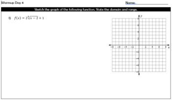Solving and Graphing Radical Equations Warmups