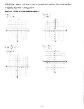 Systems of Linear Inequalities Solving and Graphing Practice, Review