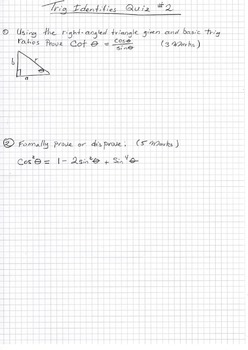 Solving and Proving Trigonometric Identities Quiz Set of 4 detailed solutions