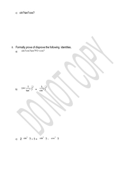 Solving and Proving Trigonometric Identities Worksheets - 6 pages