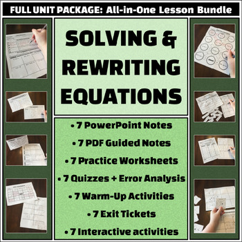 Solving and Rewriting Equations - Complete Unit Bundle