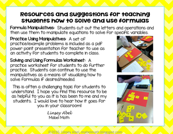 Solving and Using Formulas