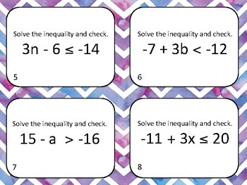 Solving and Writing Inequalities Task Card