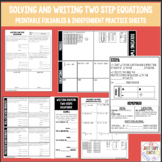 Solving and Writing Two Step Equations Foldable & Independent Practice Sheets