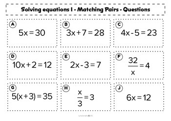 Solving basic equations - Matching activity - Math - Algebra