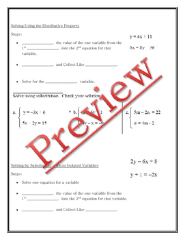 Solving by Elimination Guided Notes, Powerpoint, Homework included