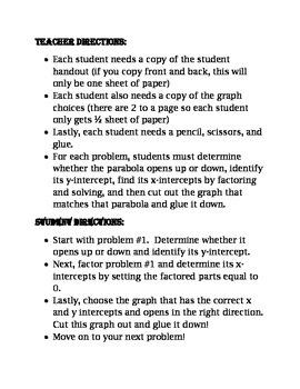 Factoring, Solving, and Graphing Quadratics 4-Square Activity