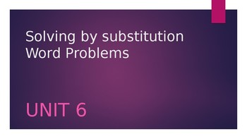 Solving by Substitution Application Problems