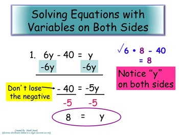 Solving Equations with Variables on Both Sides-Instructional PowerPoint & Assign