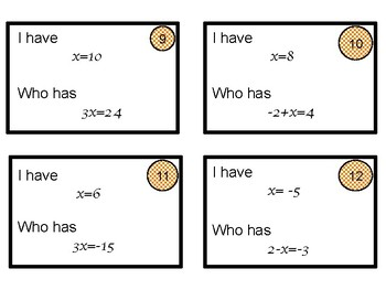 Solving one step equations I have who has game