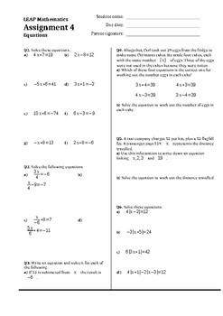 Solving equations assignment