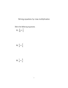 Solving equations by cross multiplication