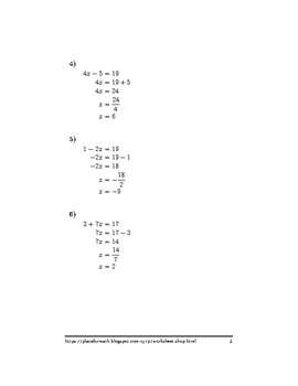Solving equations involving two operations
