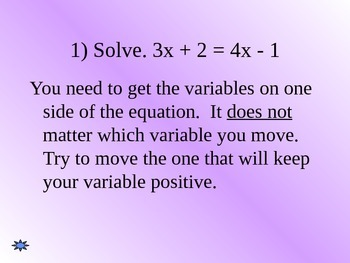 Common Core Algebra 1 Unit 1.1 Solving equations with variables on both sides