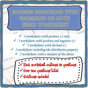 Solving equations with variables on both sides worksheets ...