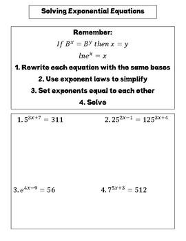 Solving exponential equations INB