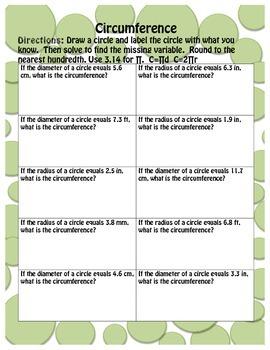 Solving for Circumference, Diameter and Radius