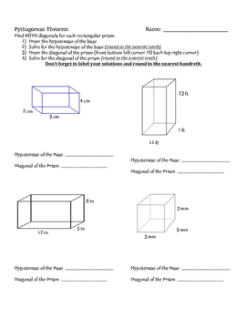 Pythagorean Theorem Activities:  2-D and 3-D