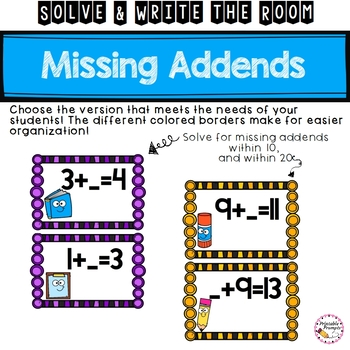 Solving for Missing Addends- Addition within 10 and 20 Solve and Write the Room