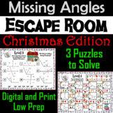 Solving for Missing Angles Game: Geometry Escape Room Christmas Math Activity
