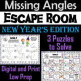 Solving for Missing Angles Game: Geometry Escape Room New Year's Math Activity
