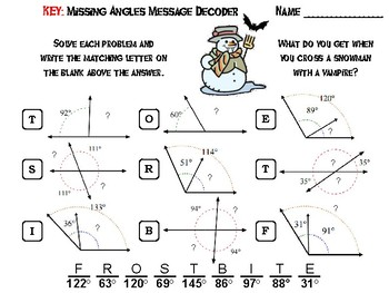 Solving for Missing Angles Game: Halloween Math Activity Message Decoder