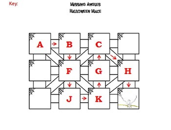 Solving for Missing Angles Game: Halloween Math Maze