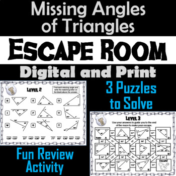 Solving for Missing Angles of Triangles Game: Geometry Escape Room - Math
