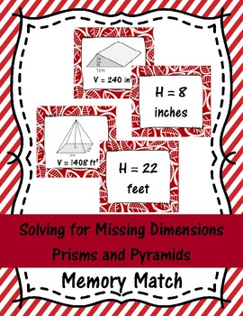 Solving for Missing Dimensions Prisms and Pyramids Memory Match