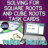 Square Roots & Cube Roots Task Cards- Paper & Digital Resource
