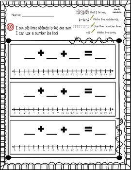 Solving for THREE Addends on the Number Line: Lesson/Activity