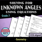 Solving for Unknown Angles Using Equations Worksheet