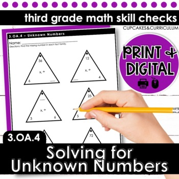 Solving for Unknown Numbers - Third Grade Print and Go
