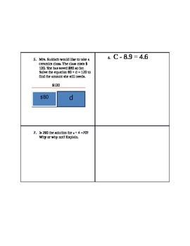 Solving for Variable (one step operations)