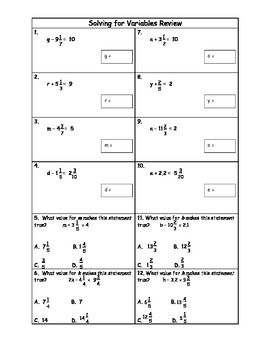 Solving for Variables