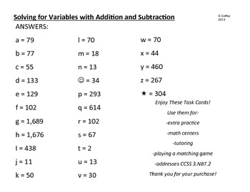 Solving for Variables with Addition and Subtraction TASK CARDS