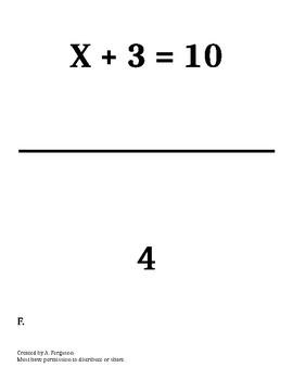 Solving for X - Scavenger Hunt