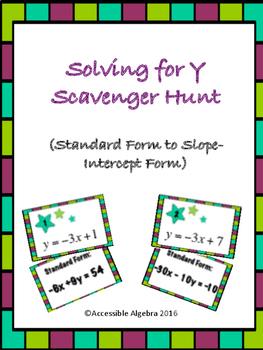 Solving for Y Scavenger Hunt