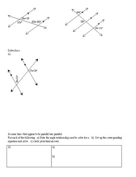 Solving for a Variable When Using Geometric Relationships Worksheet