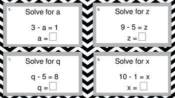 Solving for an Unknown Variable- addition & subtraction- game