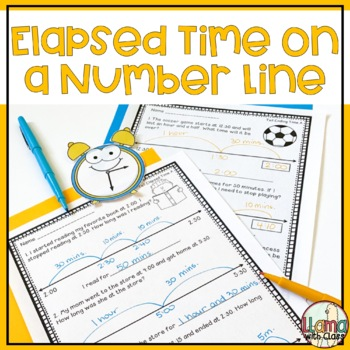 Elapsed Time on a Number Line Worksheets