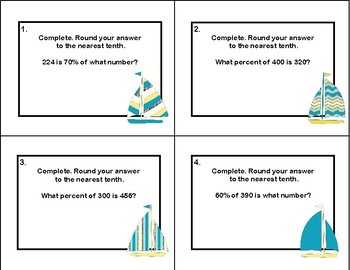 Solving for the Percent of a Number-Middle School- 40 Math Task Cards