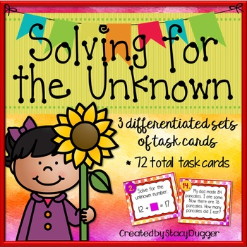 Solving for the Unknown with Addition & Subtraction Differentiated Task Cards