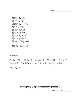 Solving for y (Put equations into slope intercept form