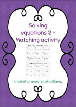 Solving linear equations - Matching activity - Algebra - Math