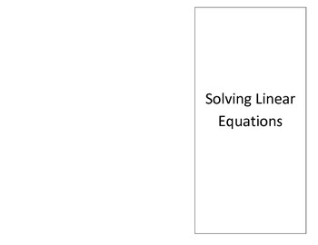 Solving multi-step equations Foldable EDITABLE