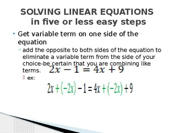 Solving multi-step linear equations